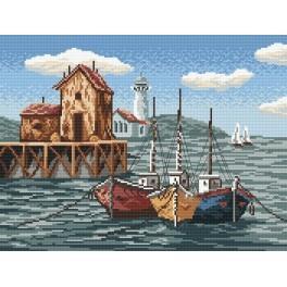 Rybářské lodě v zátoce - Předtištěná aida