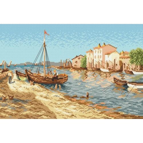 AN 33161 Rybářské městečko - Předtištěná aida