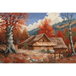 Chata na podzim - S. Sikora - Předtištěná aida