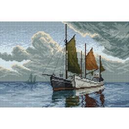 Lodě na moři - Předtištěná aida