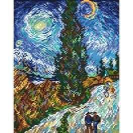 Cesta s cypřisem a hvězdou - V. van Gogh - Předtištěná aida
