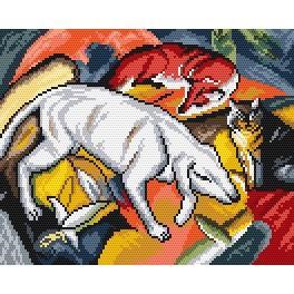 F. Marc - Pes, liška a kočka - Předtištěná aida
