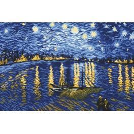 Hvězdná noc nad Rhônou - V. van Gogh - Předtištěná aida