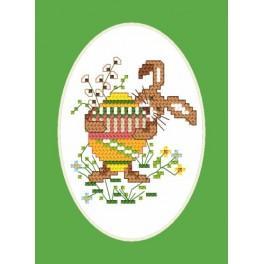 Velikonoční karta - Králíček - Předtištěná aida
