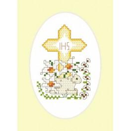 Velikonoční karta - Beránek - Předtištěná aida