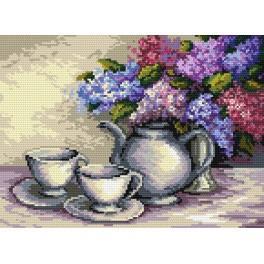 Zátiší s květy šeříků - B. Sikora-Malyjurek - Předtištěná aida