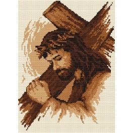 Ježíš s křížem - B. Sikora-Malyjurek - Předtištěná aida