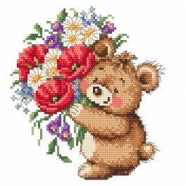 Medvídek s kyticí - Předtištěná aida
