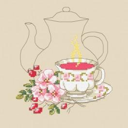 Čaj z růží - Předtištěná aida