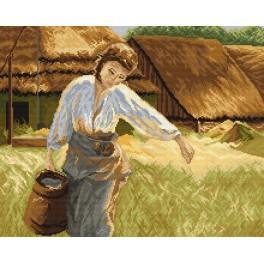 Dívka s džbánem - Předtištěná aida
