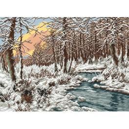 Zimní potok - Předtištěná aida