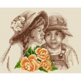 Děti s květinami - Předtištěná aida