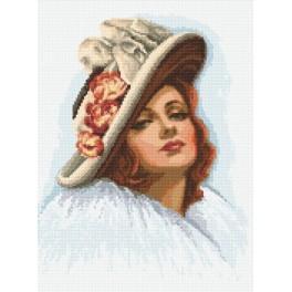 Žena v klobouku - Předtištěná aida