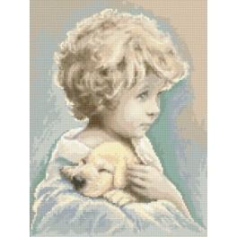 Chlapeček s pejskem - Předtištěná aida