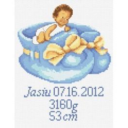 AN 8248 Výšivka k narození chlapečka - Předtištěná aida