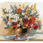 Kytice divokých květin - Předtištěná aida
