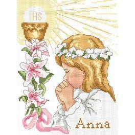 1. Svaté Přijímání - holčička - Předtištěná aida