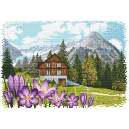 Krokusy v Alpách - Předtištěná aida