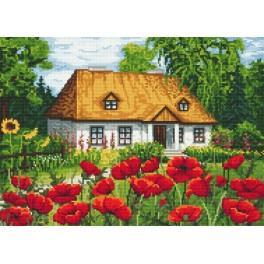 Makový dvorek - Předtištěná aida