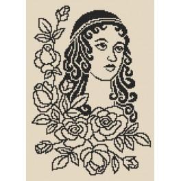 Dáma s růžemi - Předtištěná aida
