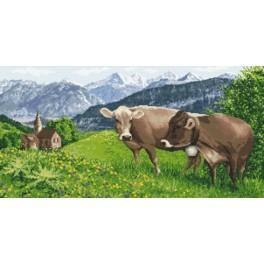 Alpská louka - Předtištěná aida