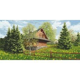 Horalská chata - jaro - Předtištěná aida