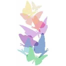 Pastelové motýli - Předtištěná aida