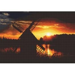 Západ slunce u větrného mlýna - Předtištěná aida