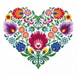 Etnické srdce - Předtištěná aida