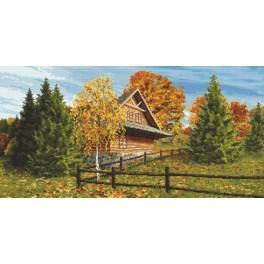 Horalská chata – podzim - Předtištěná aida