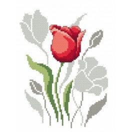 Jarní květiny - Tulipány - Předtištěná aida