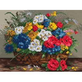 Polní květiny - Předtištěná aida