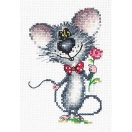 MN 18-68 Vyšívací sada - Myš s růží