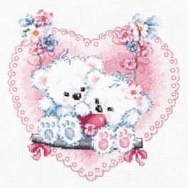 MN 80-06 Vyšívací sada s mulinkou, korálky a stuhou - Šťastná láska