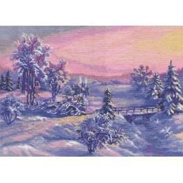 Vyšívací sada - Zimní východ slunce