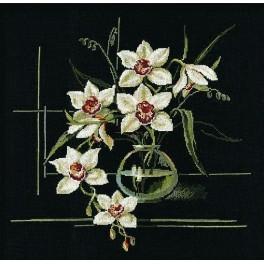 RIO 941 Vyšívací sada s mulinkou - Bílá orchidej