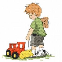 Vyšívací sada - Chlapeček s bagrem