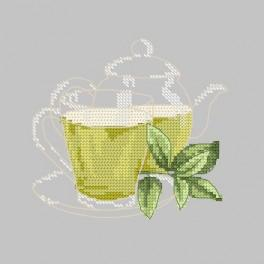 Vyšívací sada - Zelený čajíček