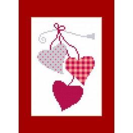 Vyšívací sada - Přání - Srdca