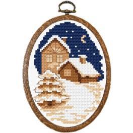 Zestaw nadrukiem, muliną i ramką - Zimowe miasteczko