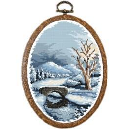 Zestaw nadrukiem, muliną i ramką - Zima