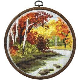 Zestaw nadrukiem, muliną i ramką - Cztery pory roku – jesień