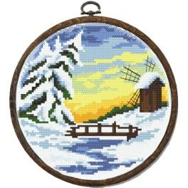 Zestaw nadrukiem, muliną i ramką - Cztery pory roku – zima
