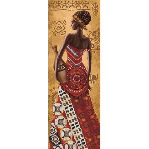 NHD 2076 Vyšívací sada s korálký - Africká žena s džbán