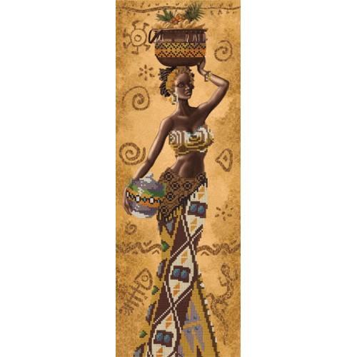 NHD 2078 Vyšívací sada s korálký - Africká žena s ovocem