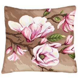 Zestaw z muliną i poszewką - Poduszka z magnoliami
