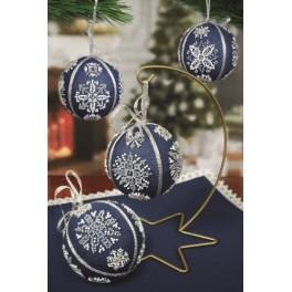 Vyšívací sada - Vánoční koule se sněhovými vločkami