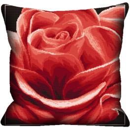 Vyšívací sada s povlakem na polštář - Polštář - Červená růže