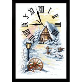 ZGR 10027 Vyšívací sada s mulinkou, hodinami a rámečkem - Zimní hodiny