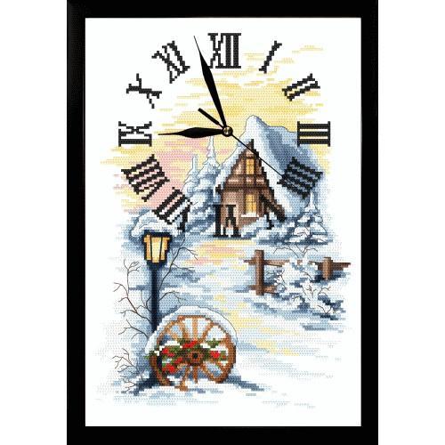Vyšívací sada s mulinkou, hodinami a rámečkem - Zimní hodiny